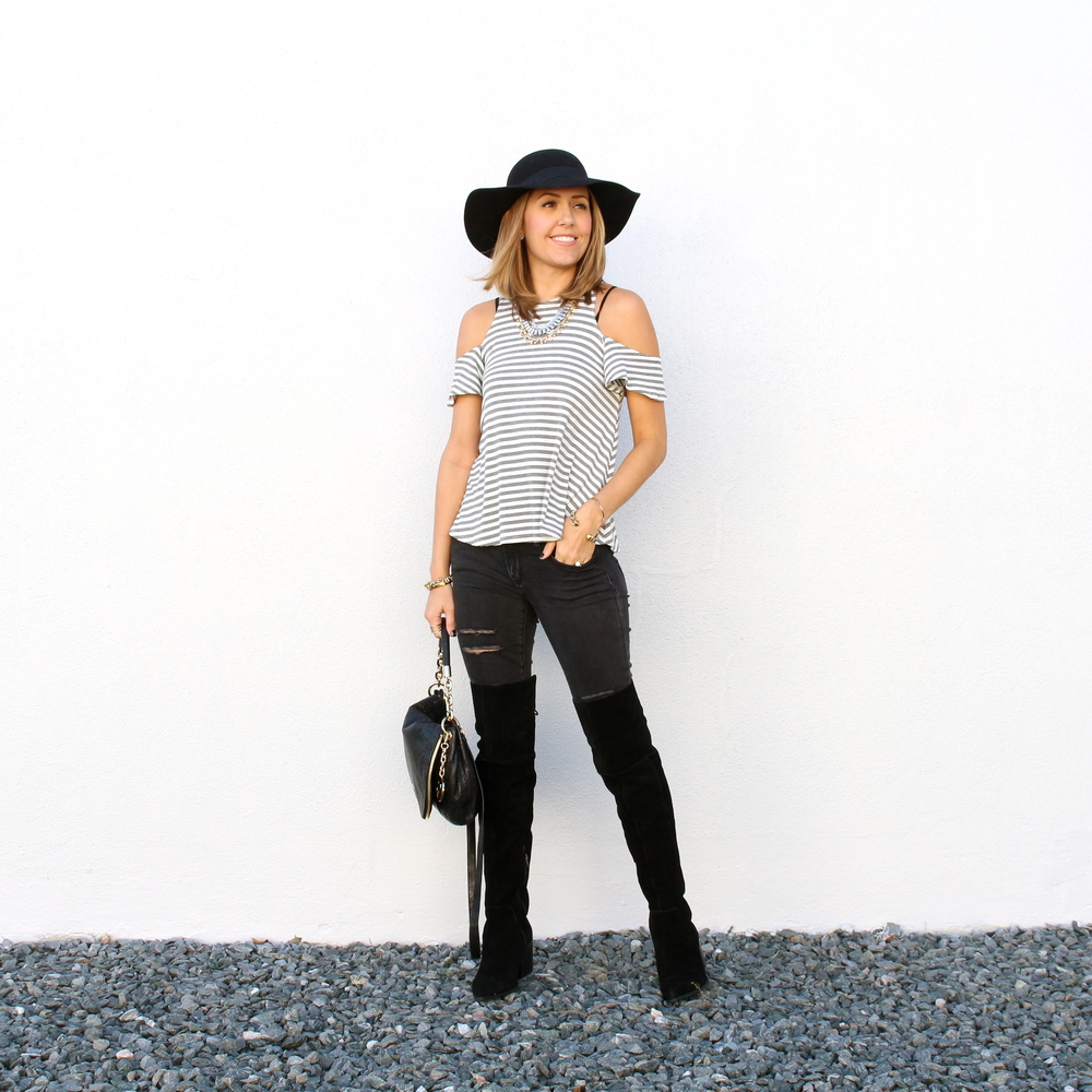 Open shoulder top with black jeans