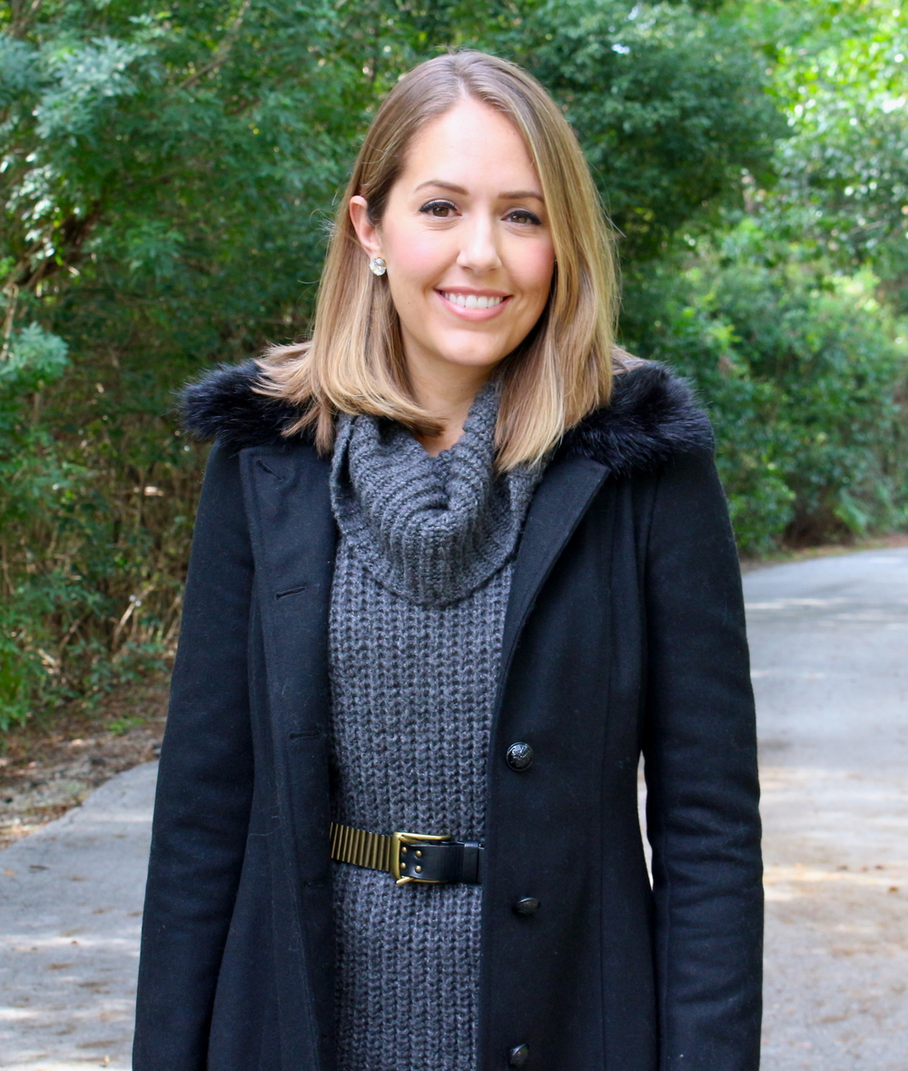 Black coat, gray sweater dress, black belt