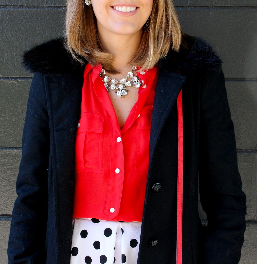 Polka dot skirt, red shirt, sparkle necklace