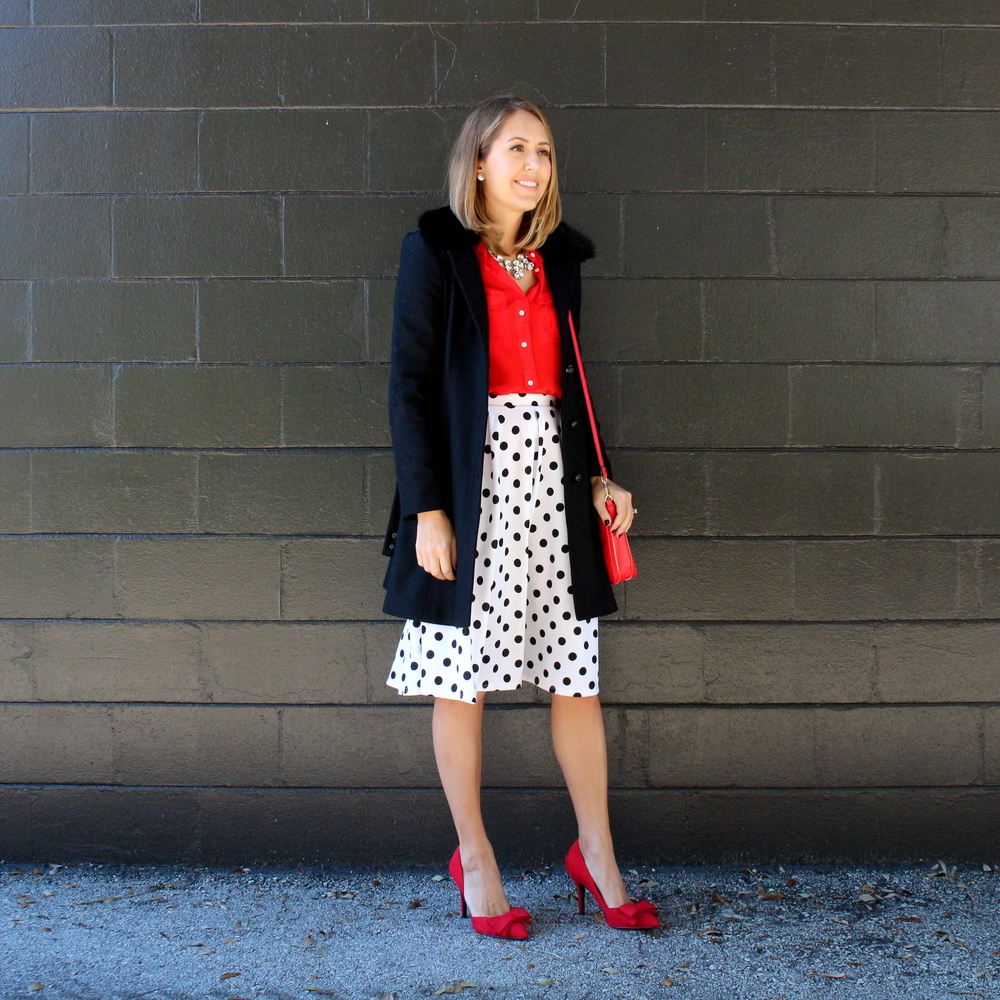 Polka dot skirt, red shirt, red bow pumps