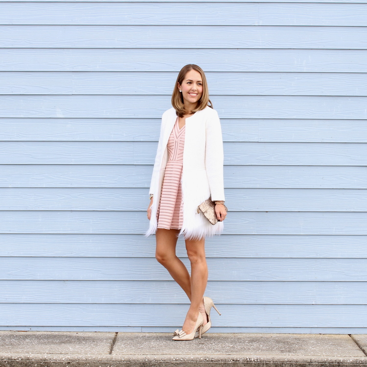 Blush pink dress, gold bow pumps and faux fur coat