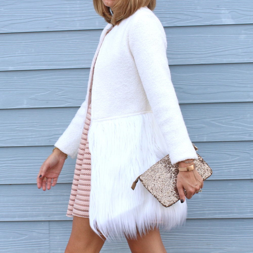 Blush pink dress, faux fur coat, sequin clutch