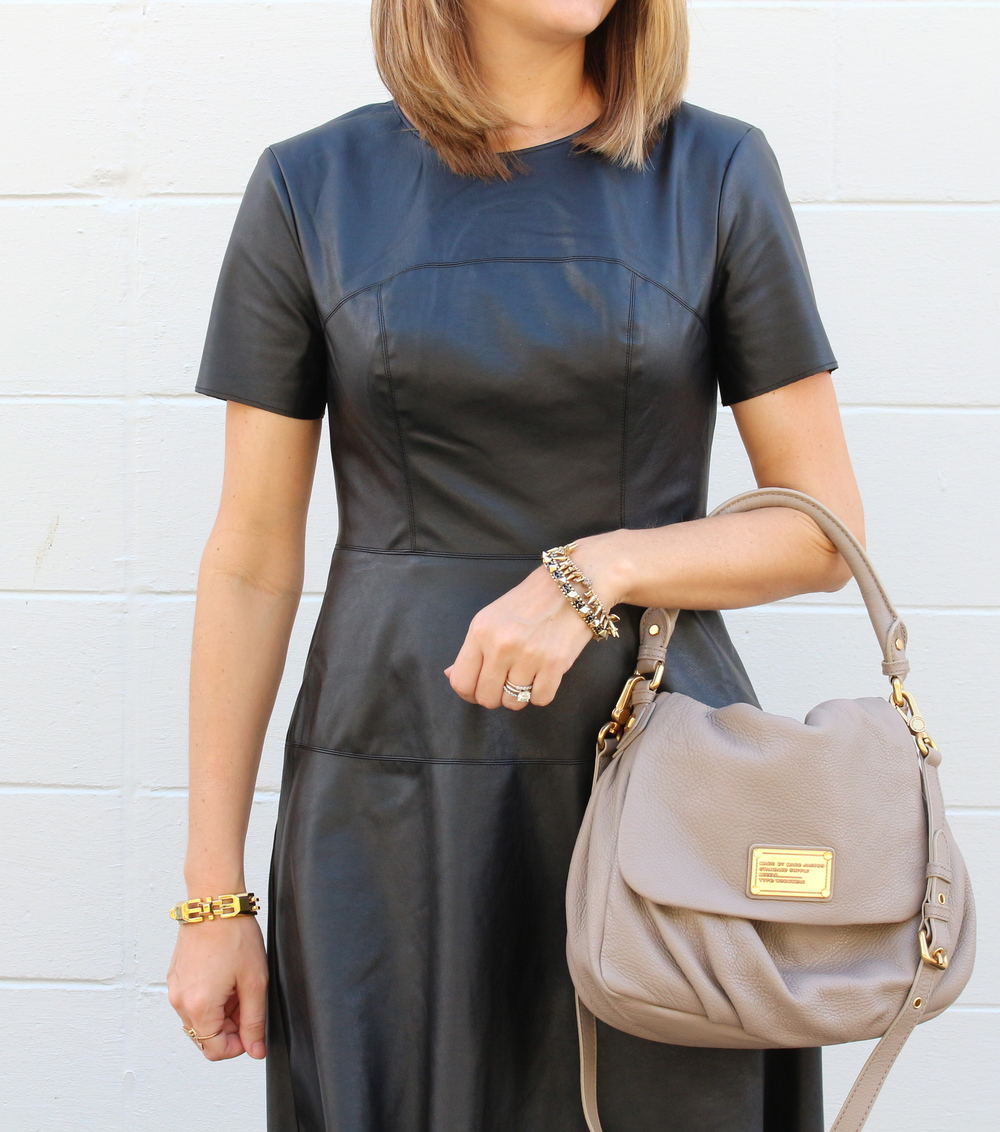 $22 leather dress, Marc Jacobs bag