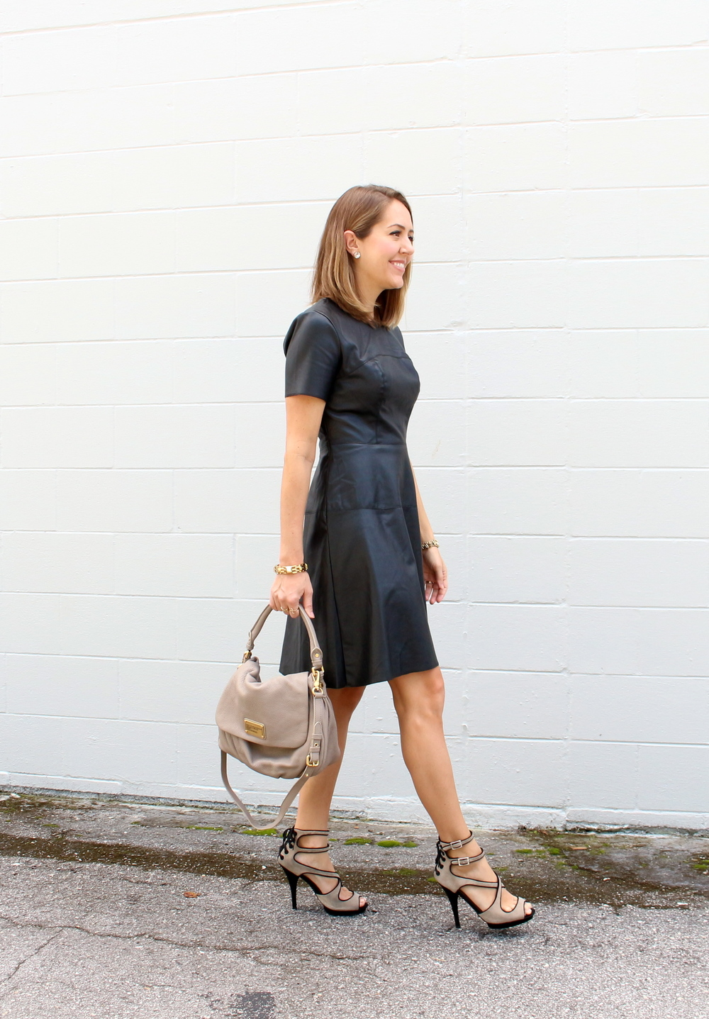Leather dress $22, shoes $30