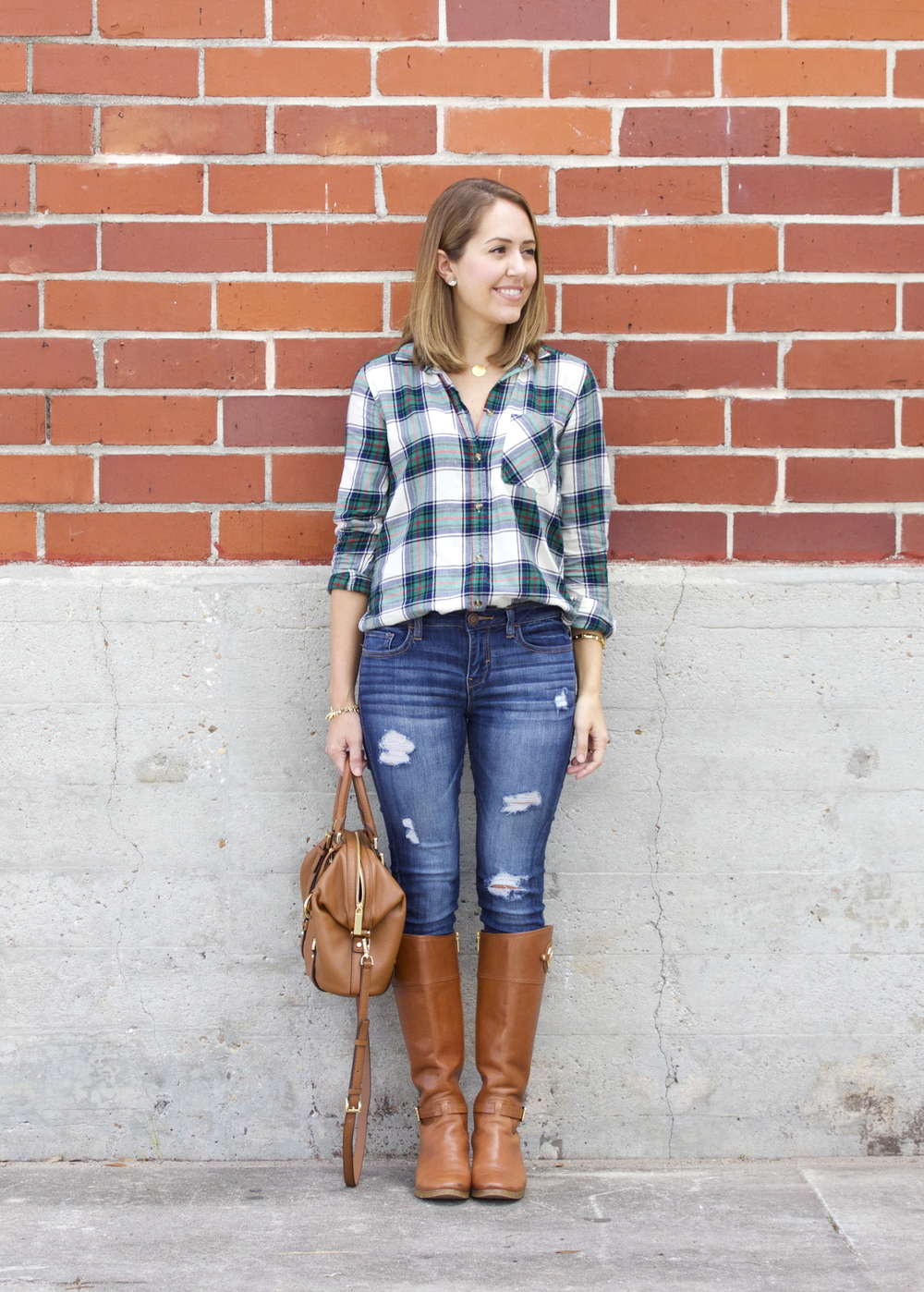 Boyfriend plaid, distressed jeans, riding boots