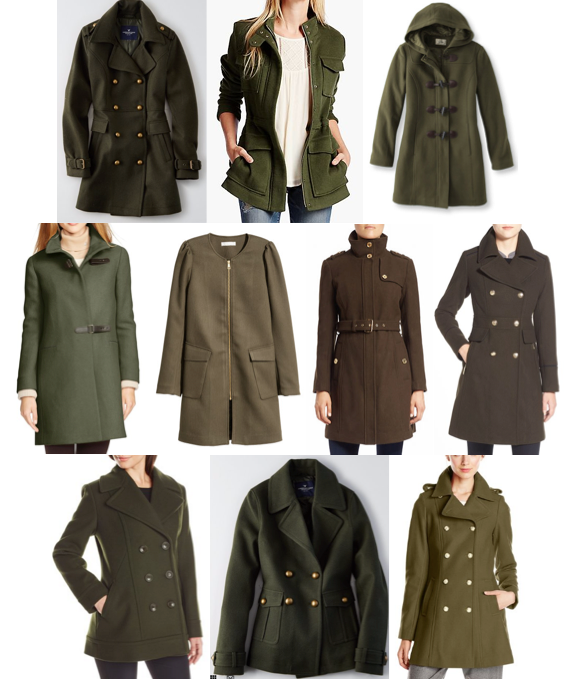 Olive pea coats under $250