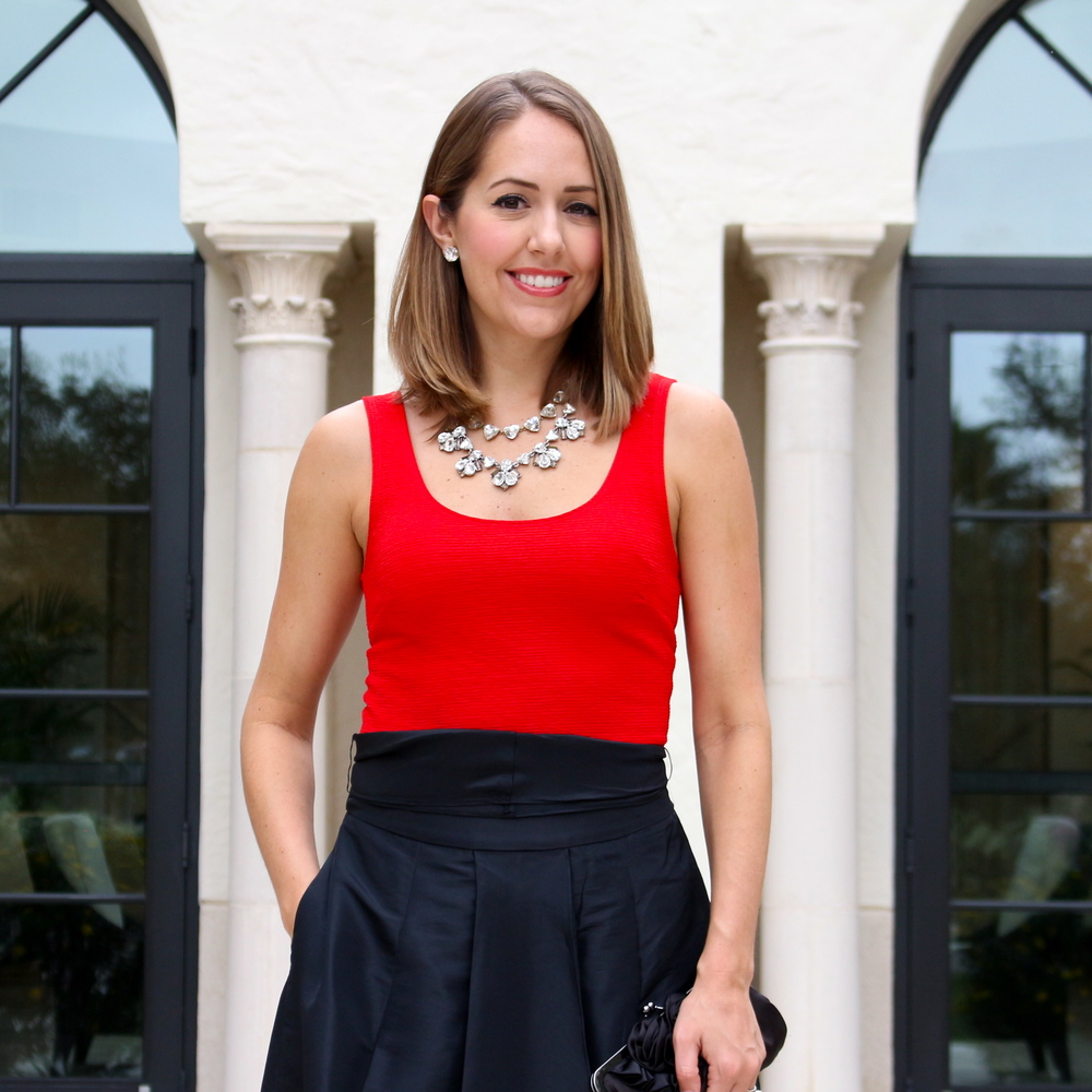 Red tank top with black maxi skirt