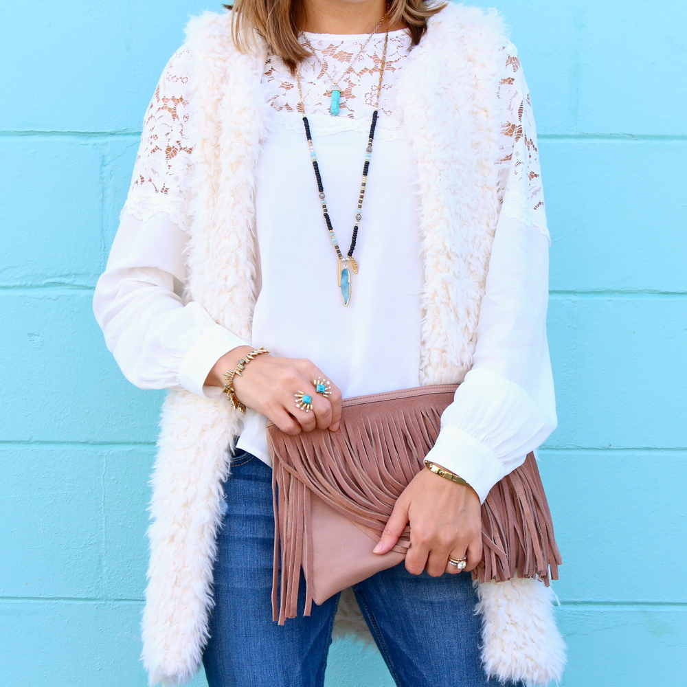 Fuzzy vest, lace yoke top, turquoise jewelry