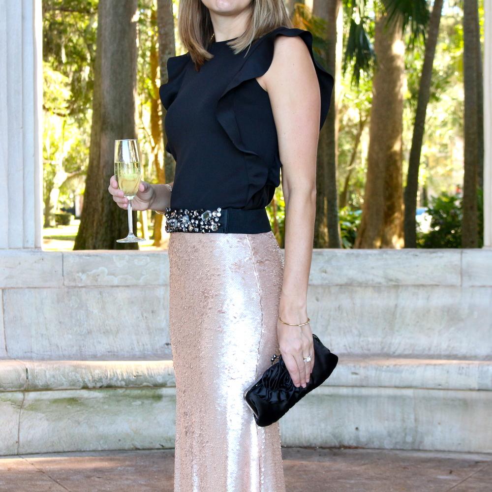 Gold sequin maxi skirt, jeweled belt, ruffle shirt