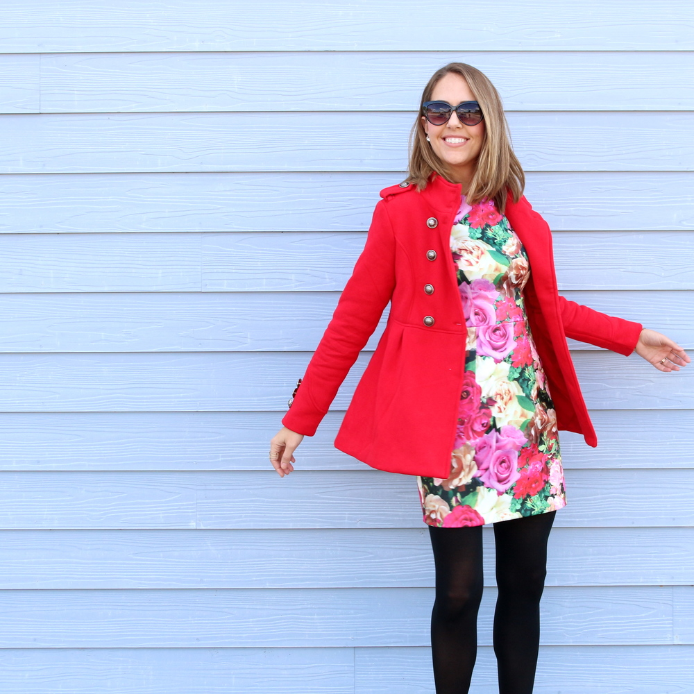 Red coat with floral dress