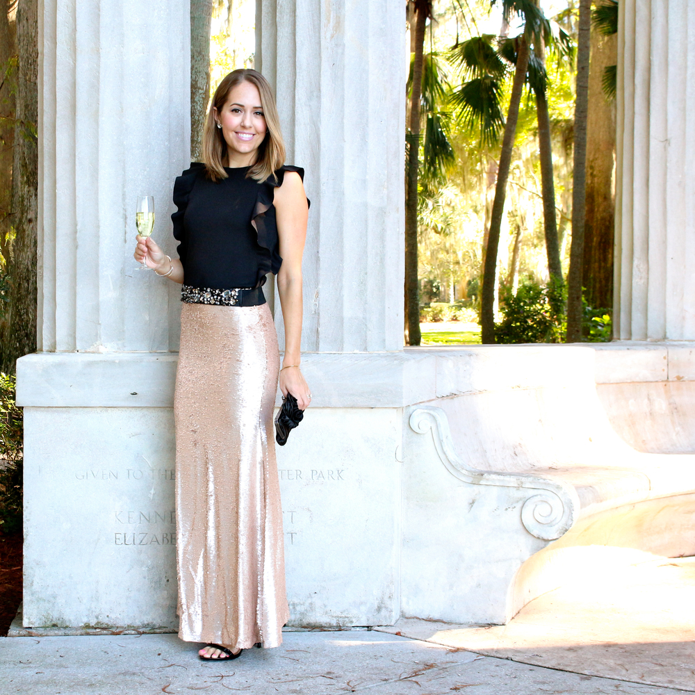 Gold sequin maxi skirt, jeweled belt, ruffle shirt