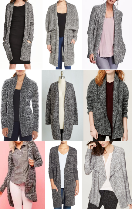 Gray long cardigans under $100