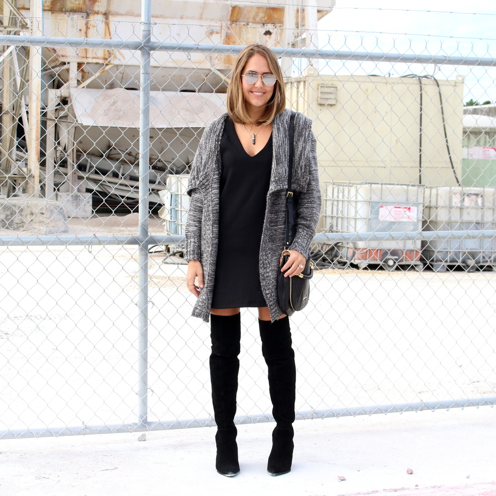 Gray cardigan, black dress, black boots