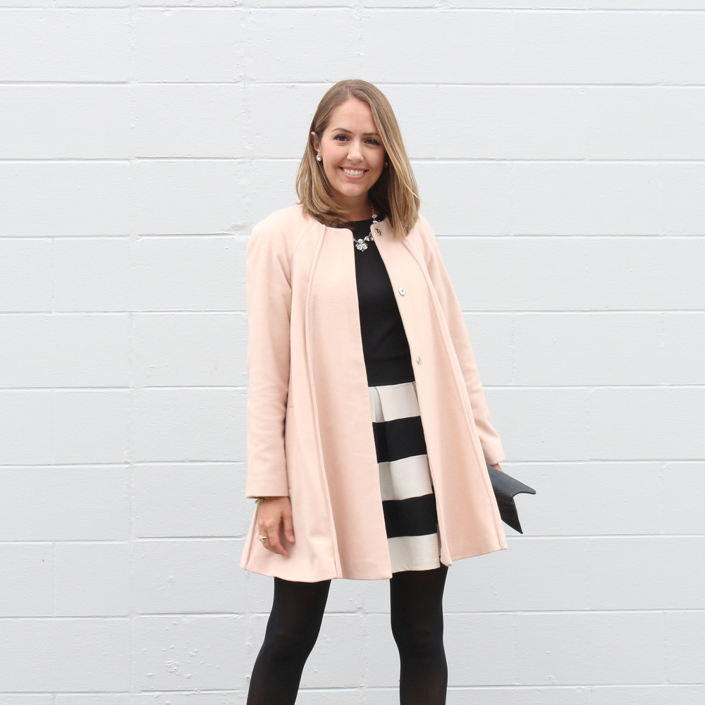 Pale pink coat, wide stripe skirt