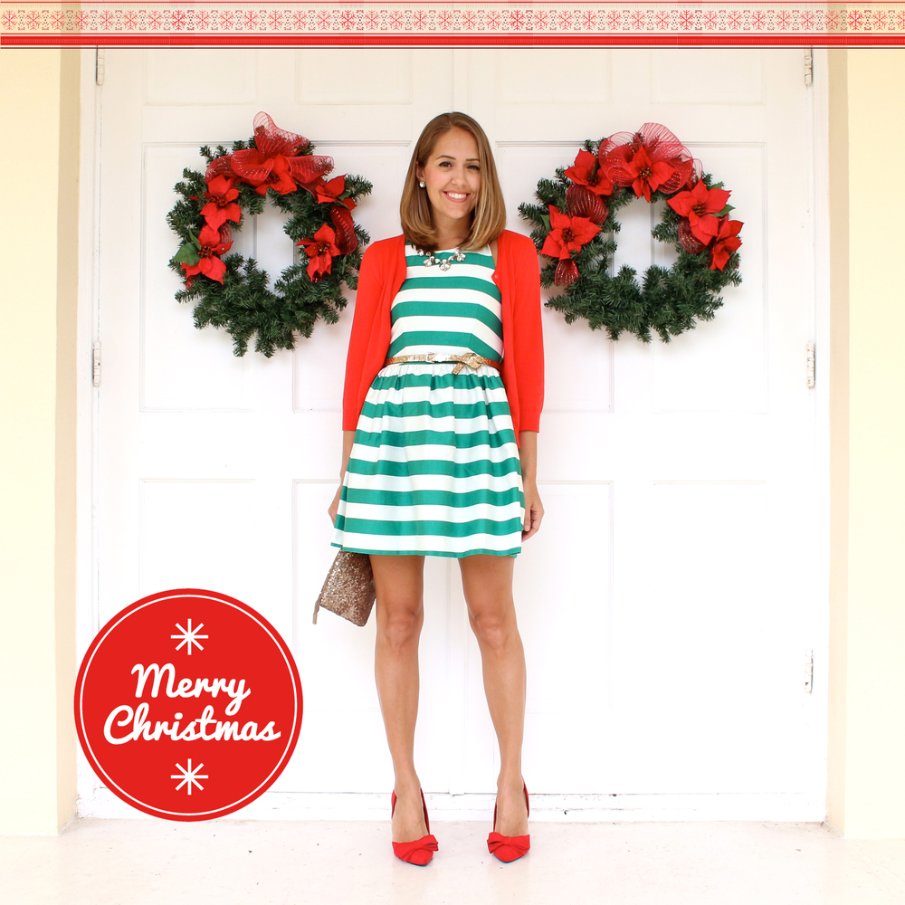Christmas Card - green striped dress, red cardigan
