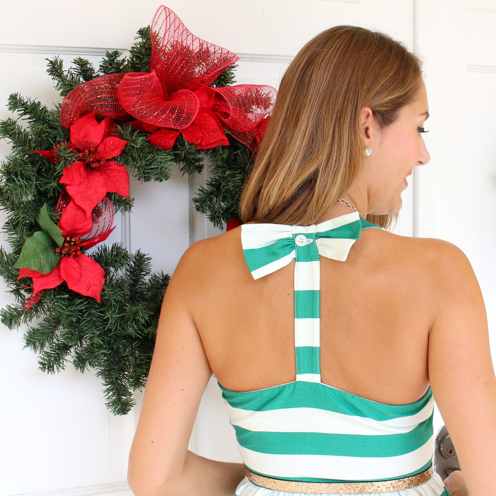 Green striped dress with bow back