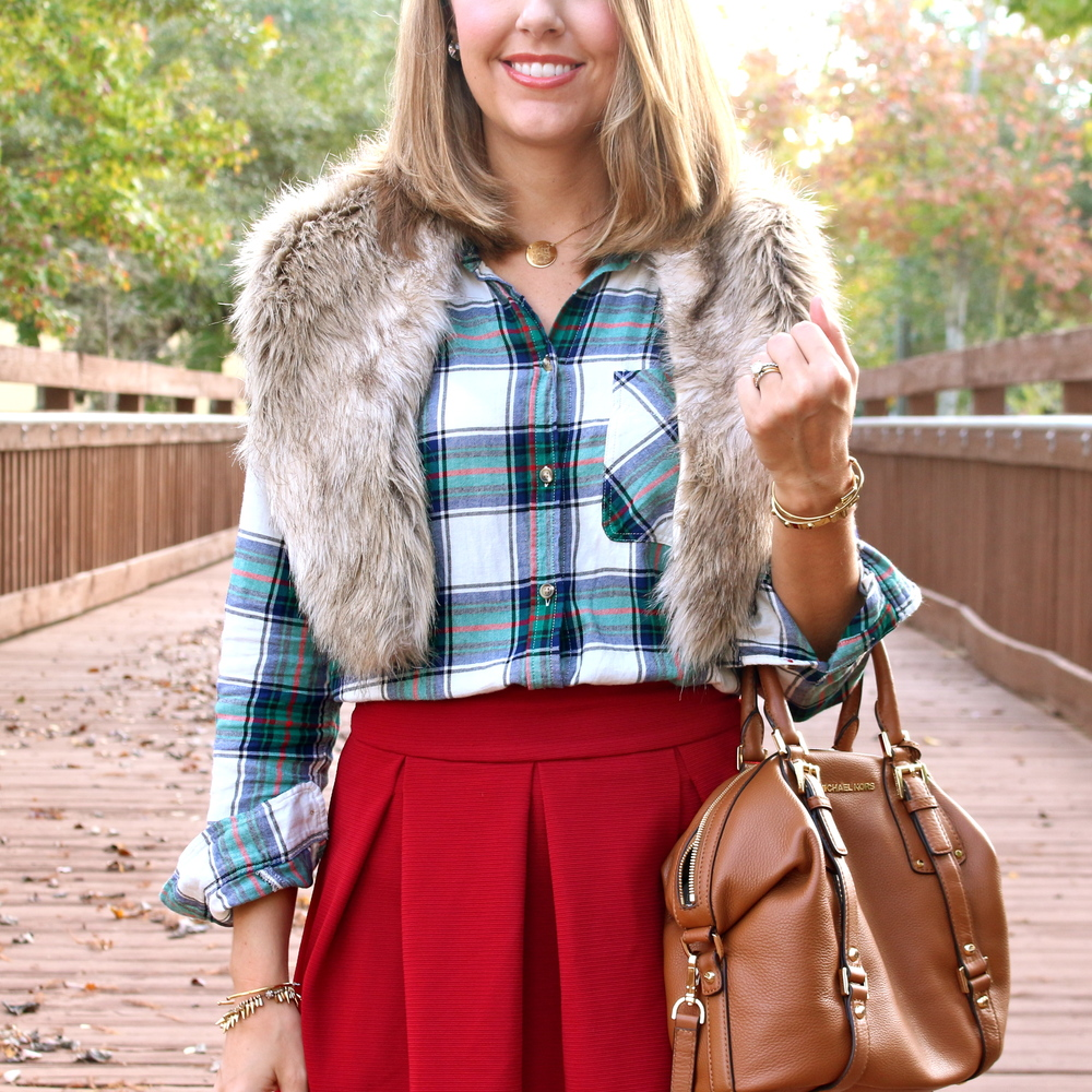 Plaid top, red skirt, faux fur collar