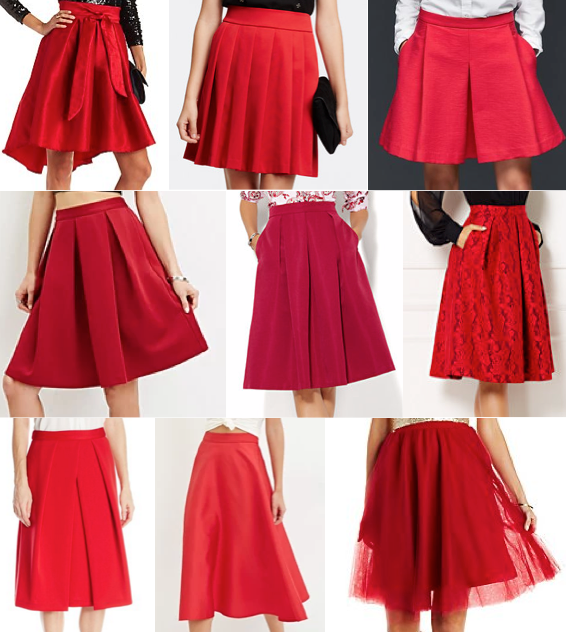 Red skirts under $100