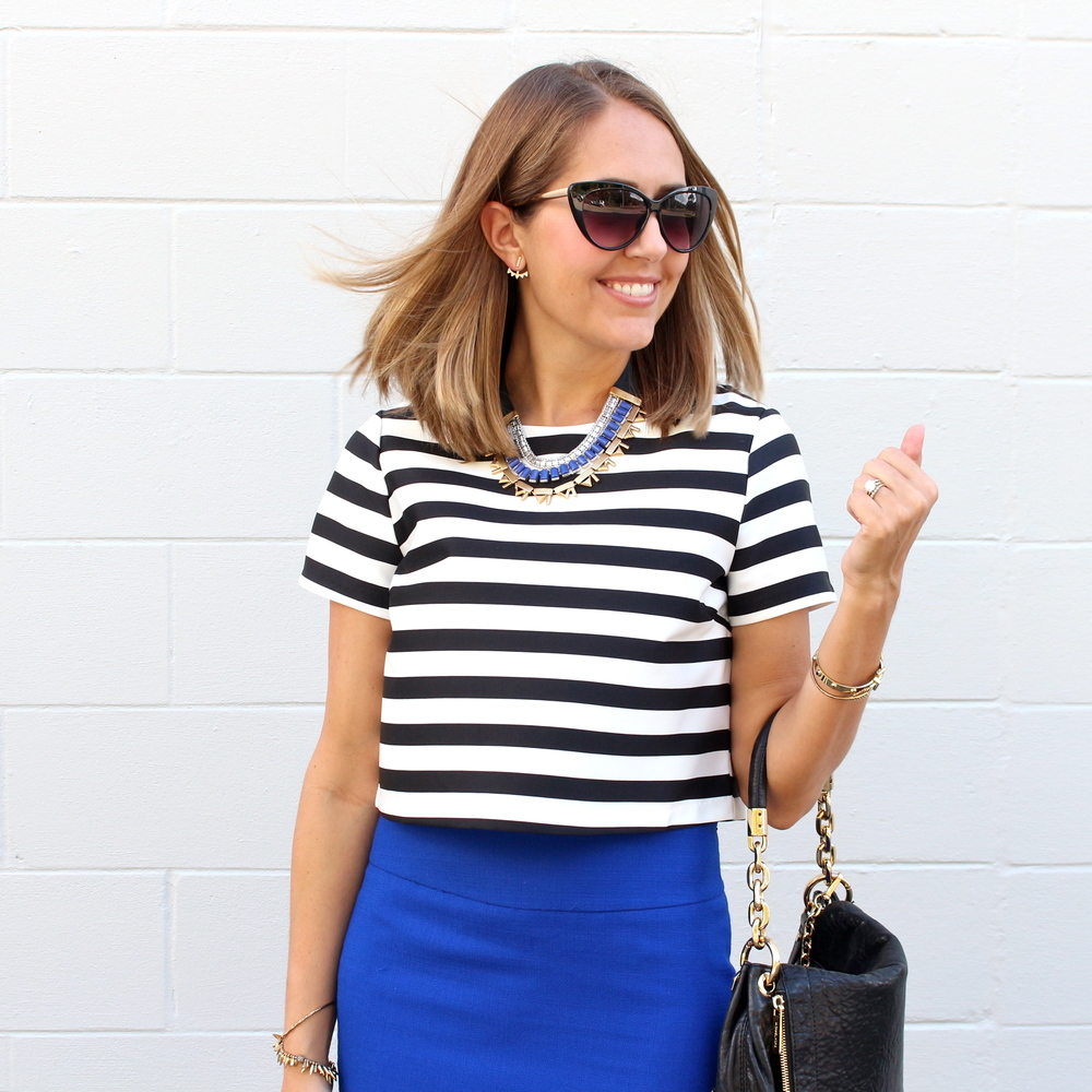 Striped crop top with cobalt skirt