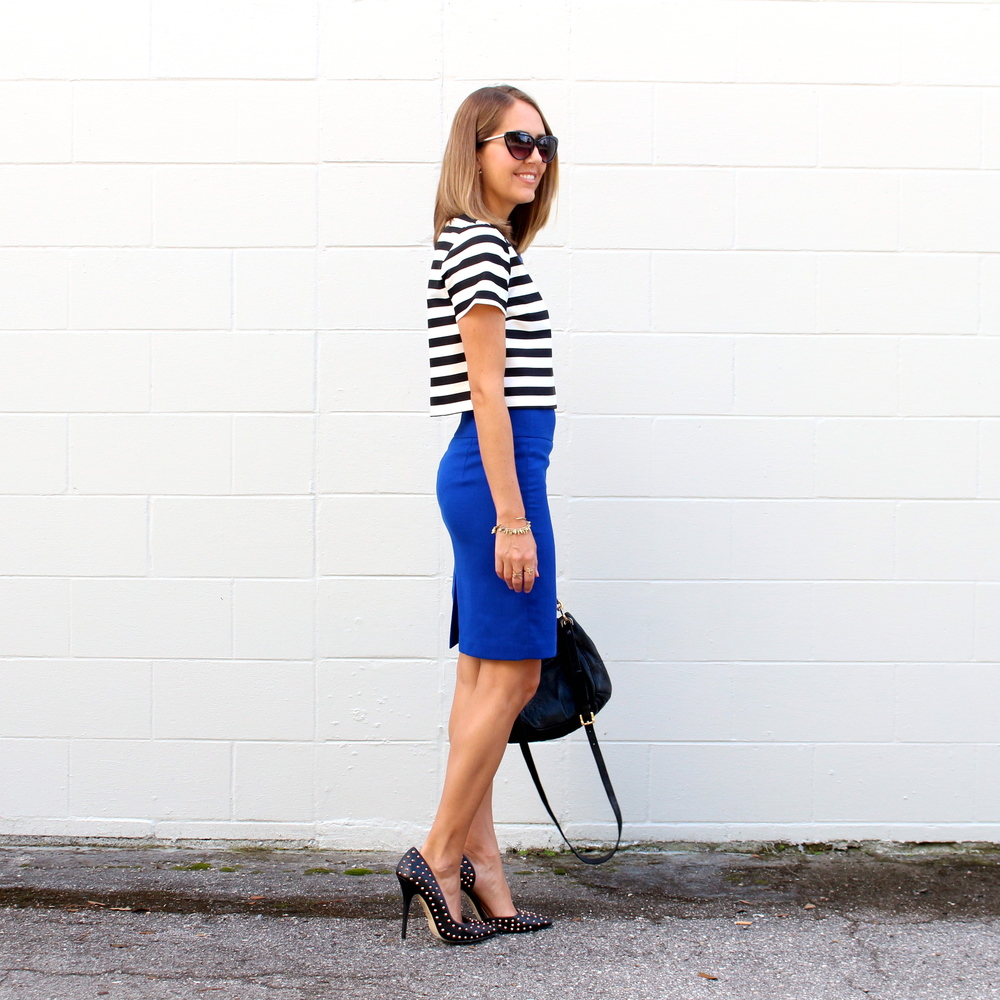 Striped crop top, cobalt pencil skirt