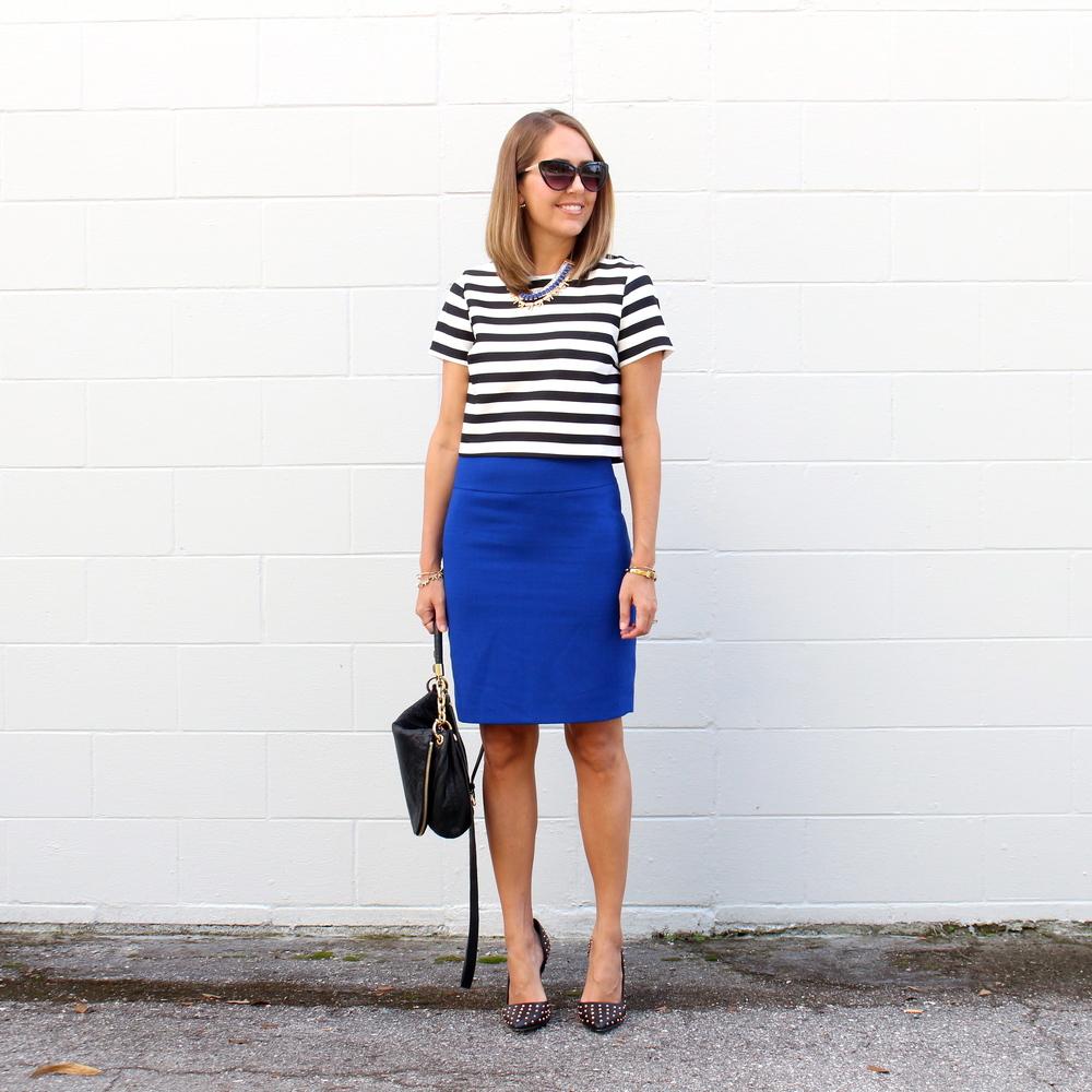 Striped crop top, cobalt pencil skirt