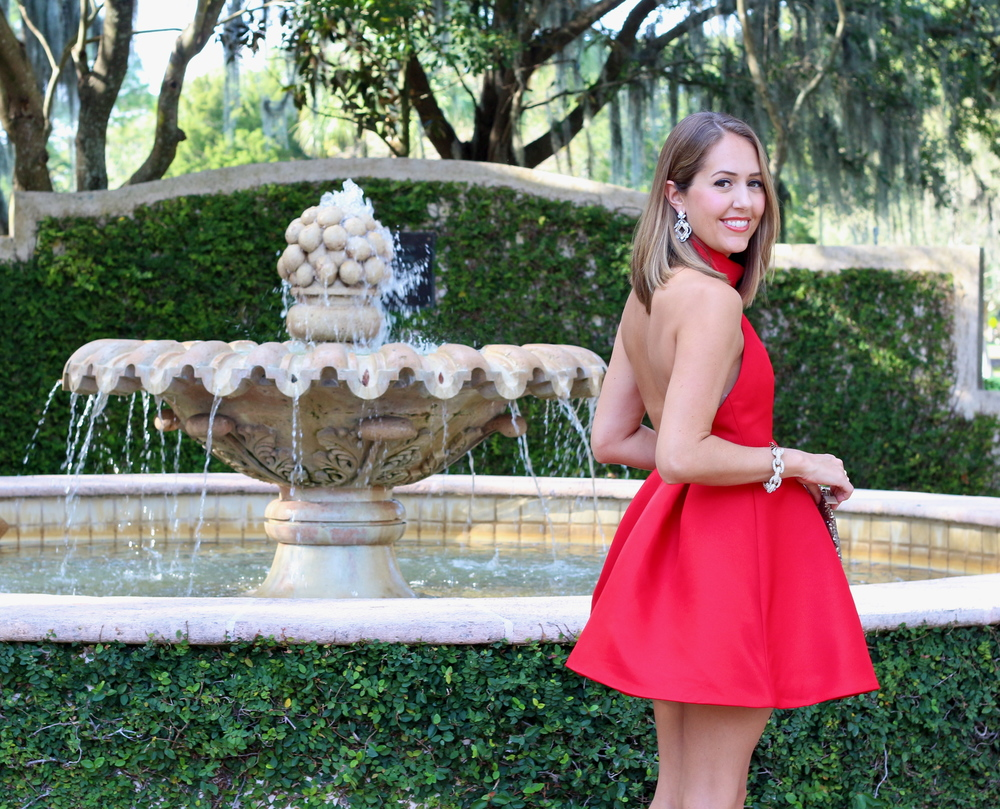 Red halter backless dress