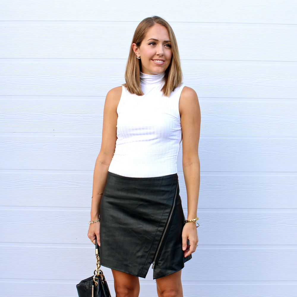 Leather asymmetrical skirt, ivory turtleneck