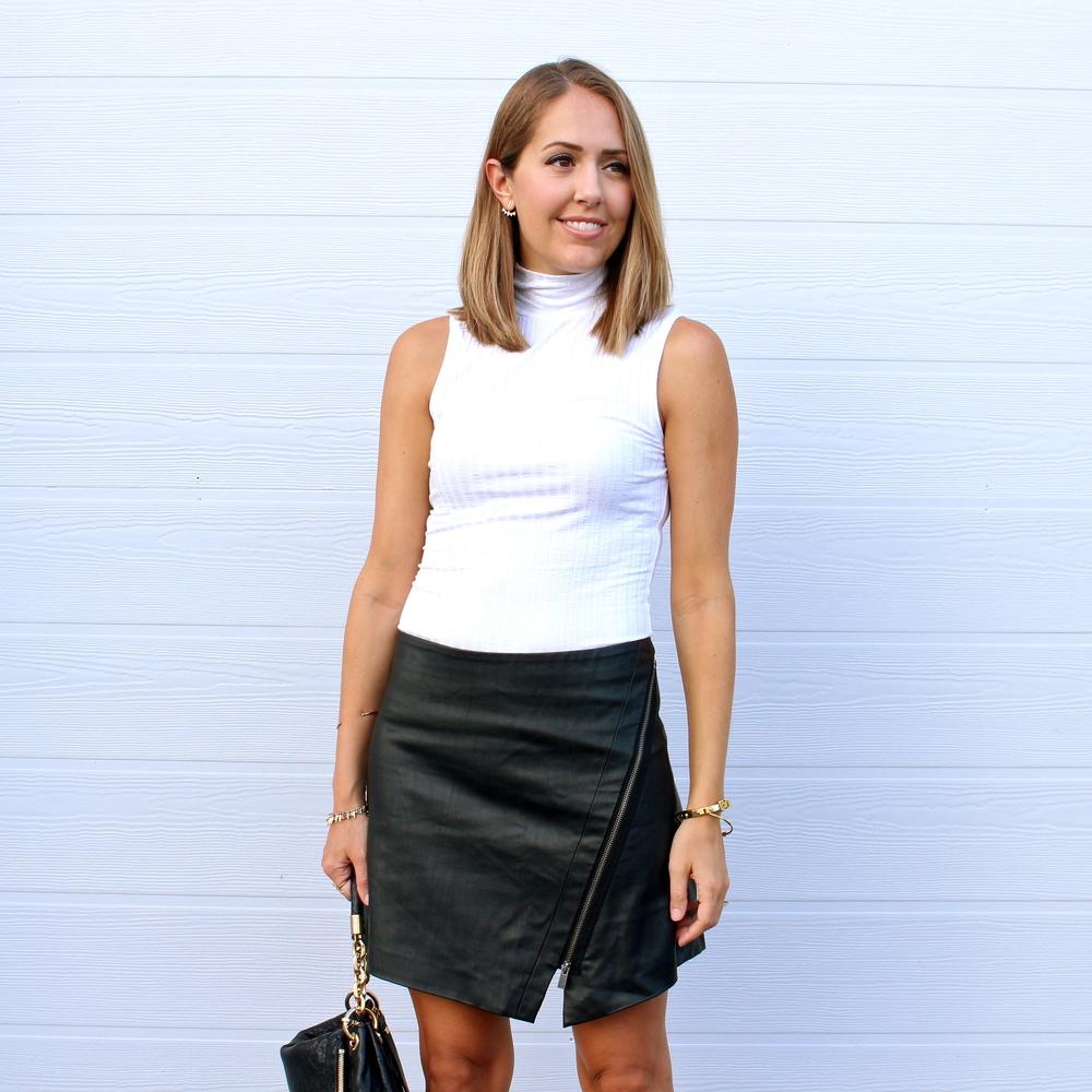 Leather asymmetrical skirt, ivory turtleneck
