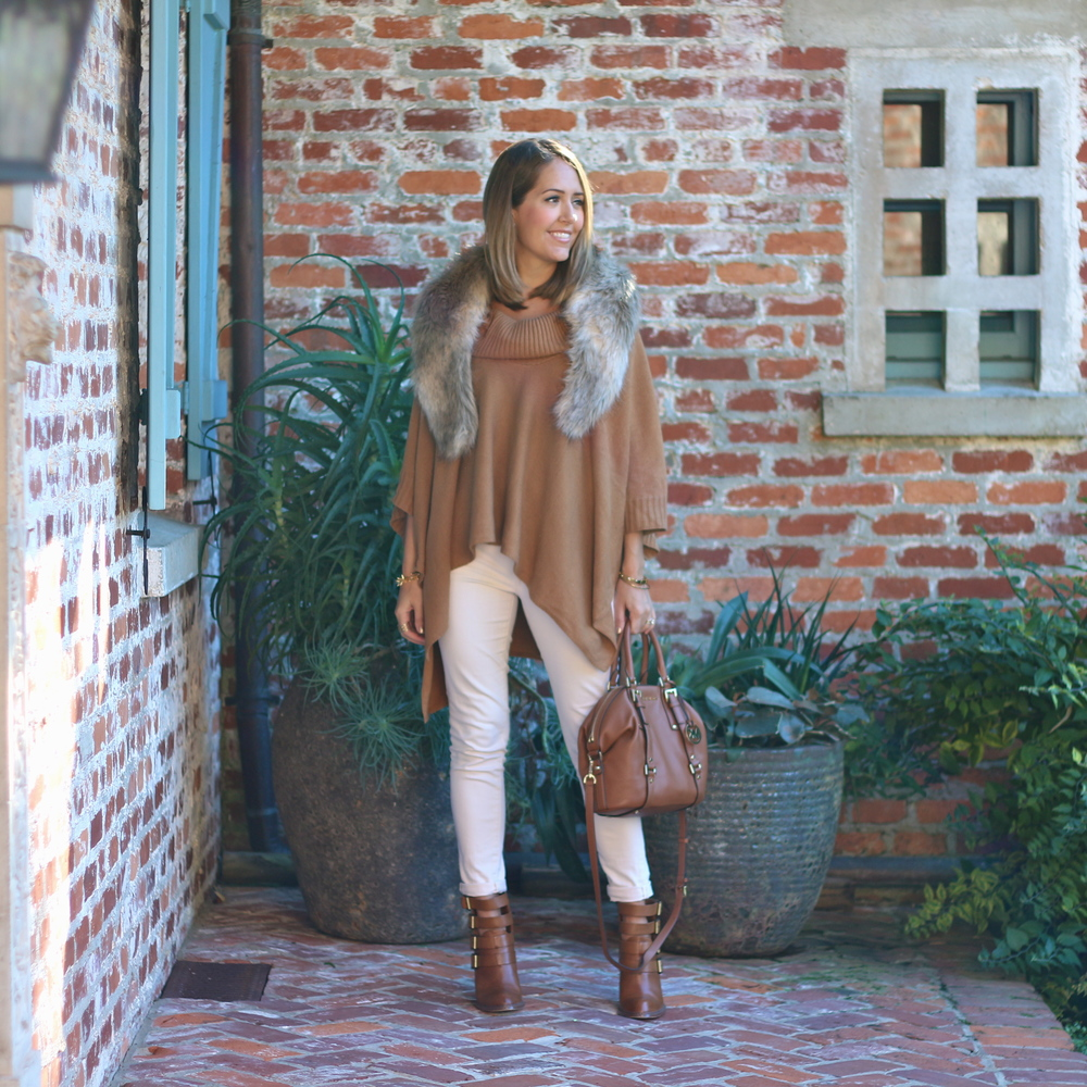 Faux fur collar, camel poncho, ivory jeans