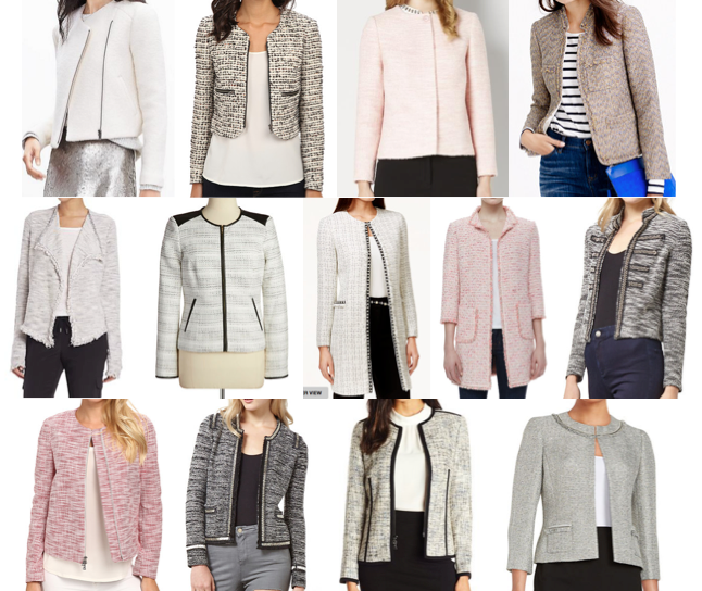 Boucle and tweed jackets under $150