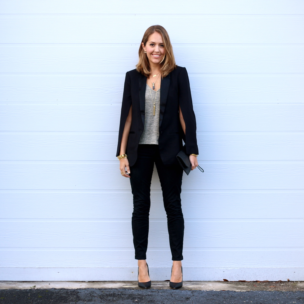 Cape blazer with black jeans