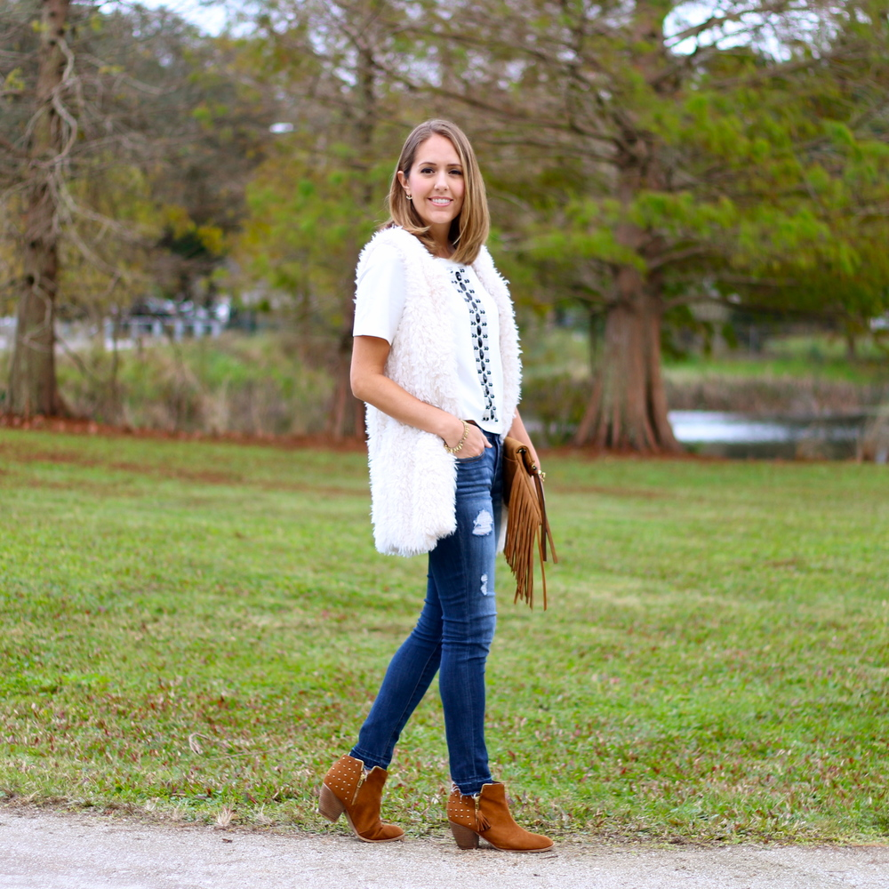 BELLE + SKY top, jeans and clutch