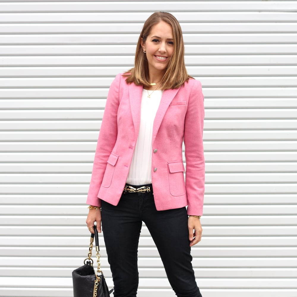 Pink blazer, black jeans, statement belt