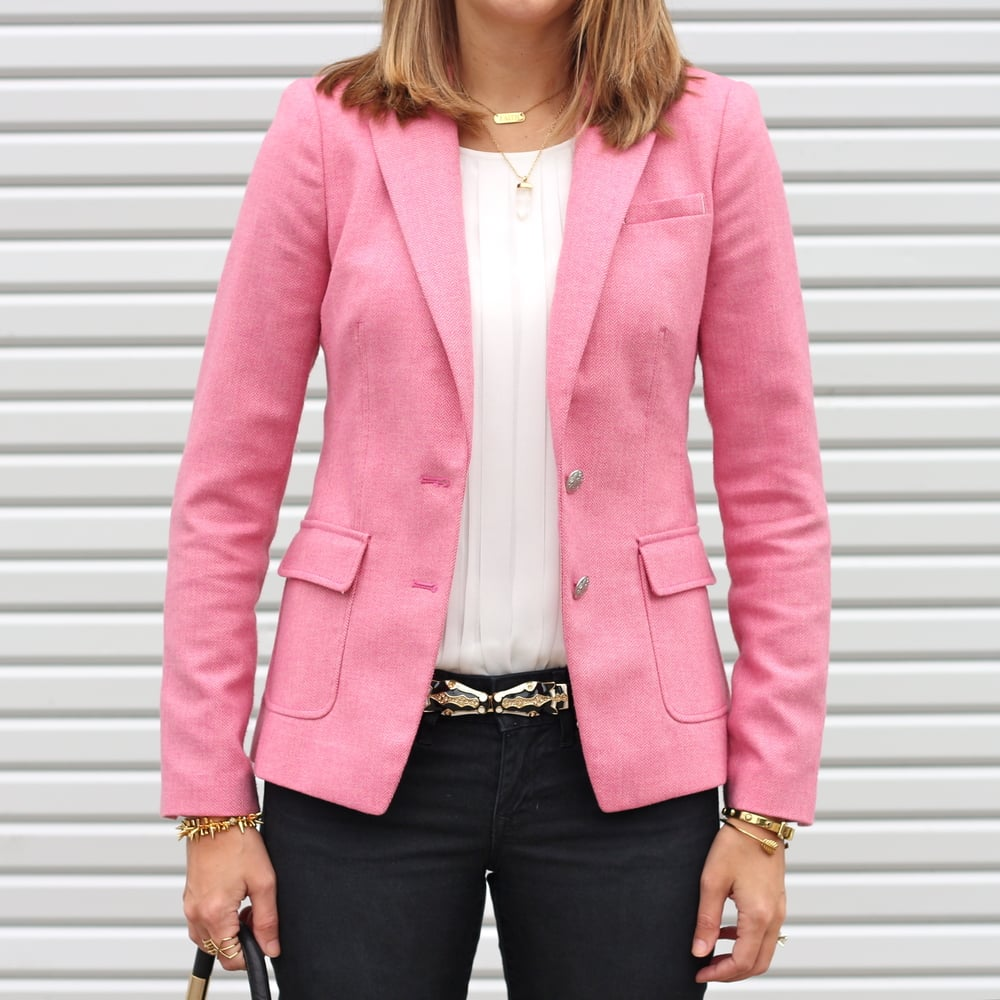 Pink tweed blazer, statement belt, black jeans