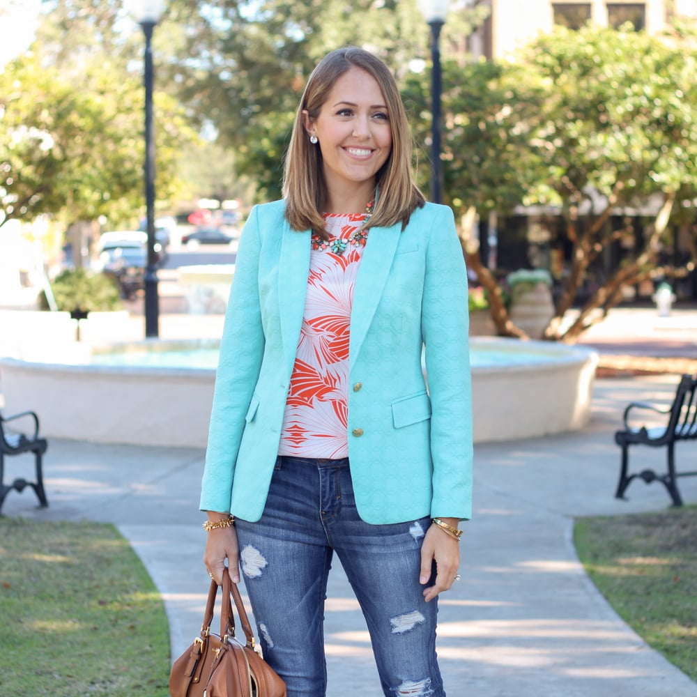 Turquoise blazer, orange print shirt, statement necklace