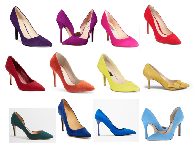 Colorful suede pumps under $100