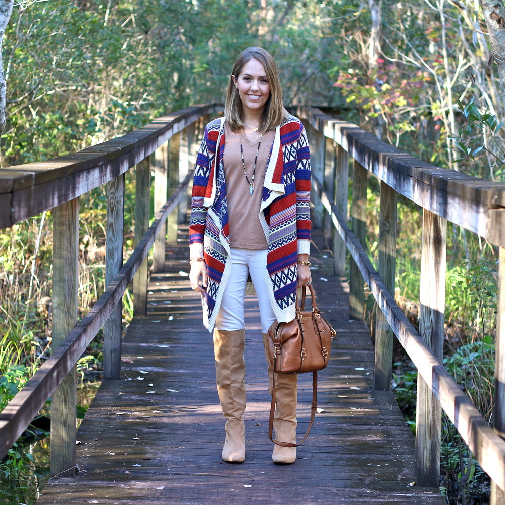 Printed cardigan, camel tee, ivory jeans, suede boots