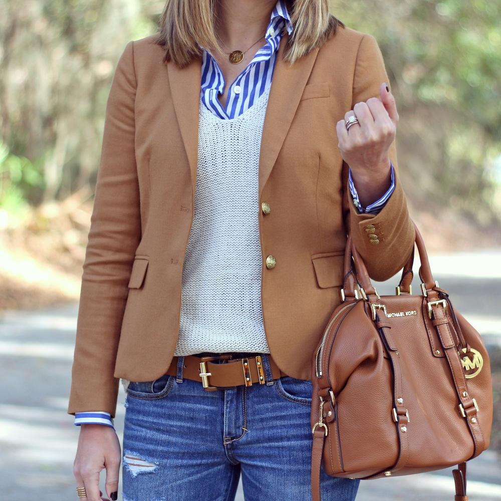 camel blazer, striped button front, ivory sweater