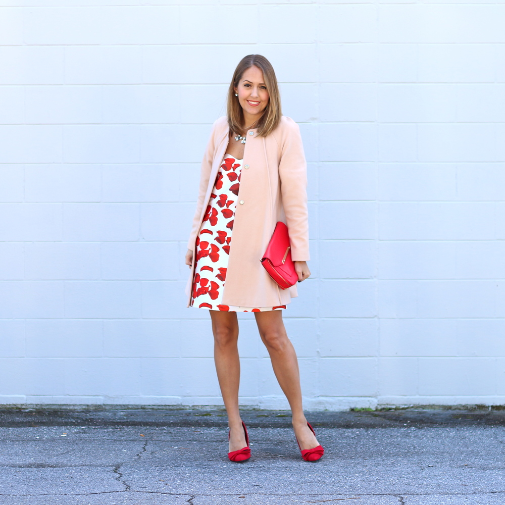 Rose petal print dress with pink coat