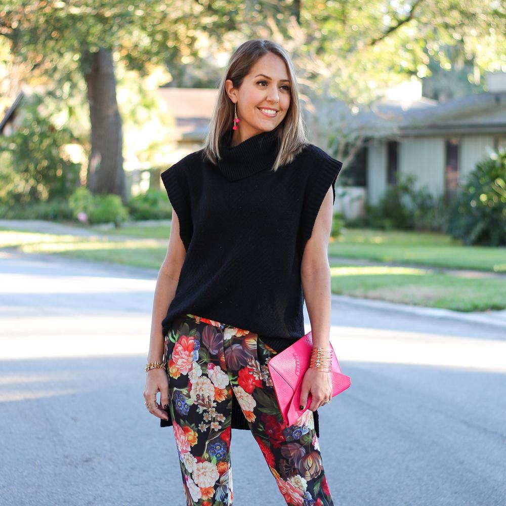 Floral J.Crew pants,  black turtleneck