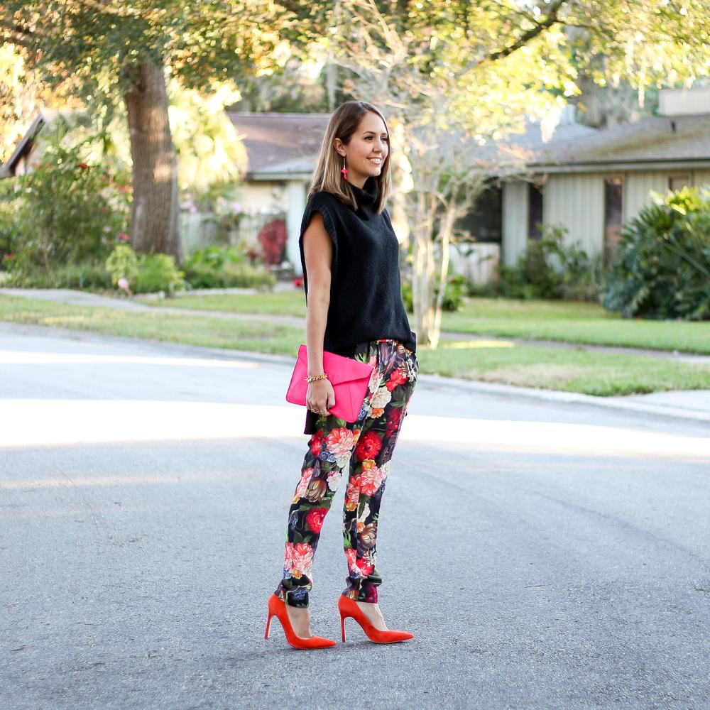 Floral J.Crew pants, orange pumps, black turtleneck