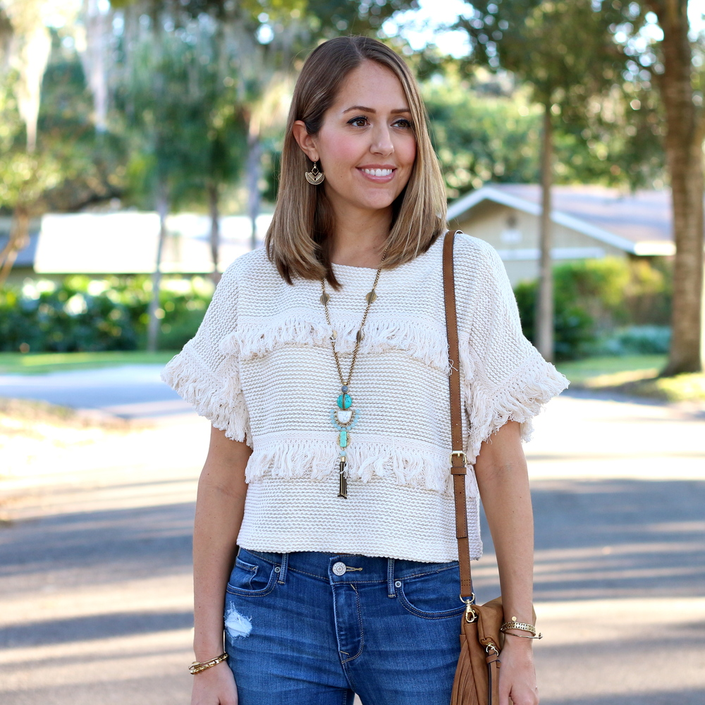Fringe sweater, turquoise necklace