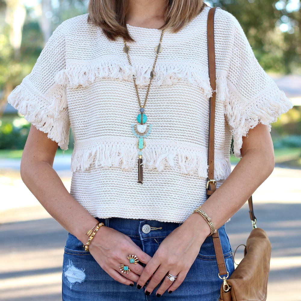 Fringe sweater, turquoise jewelry