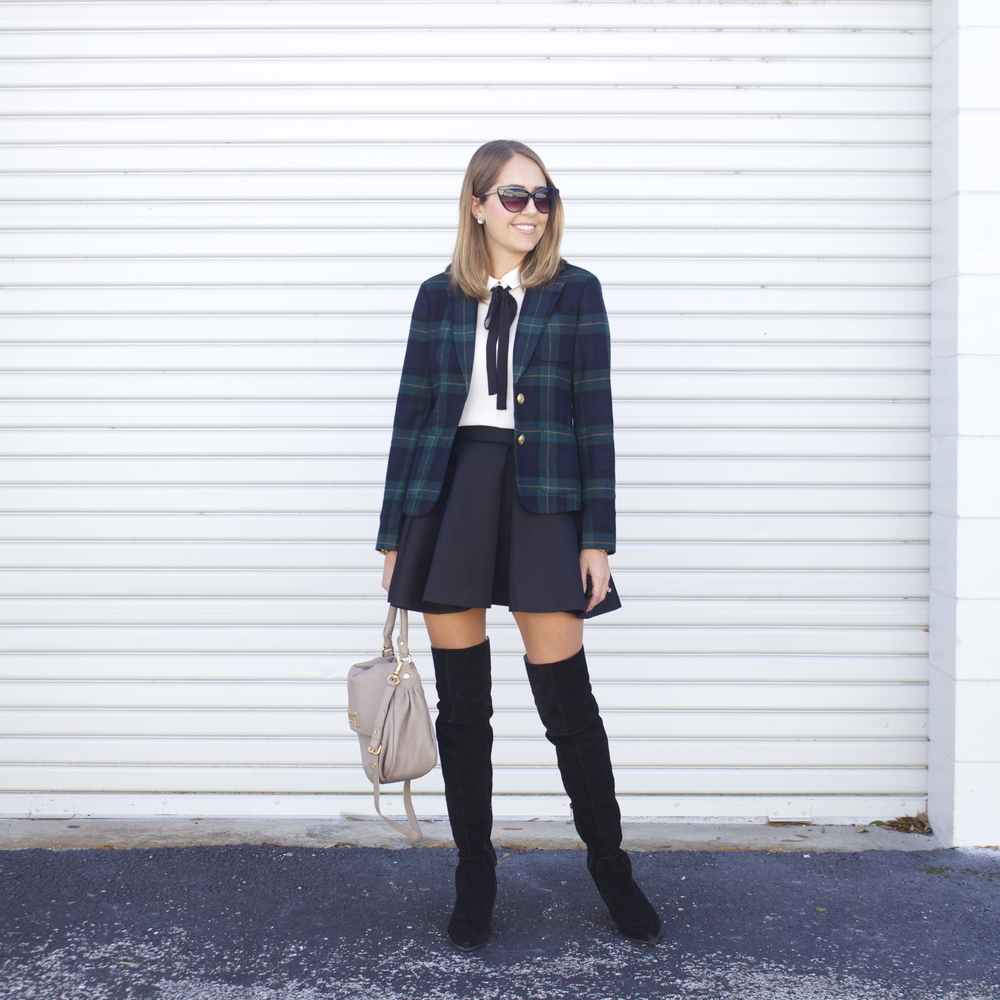 Plaid blazer, tie neck blouse, skater skirt