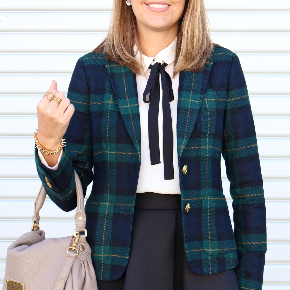Plaid blazer, tie neck blouse