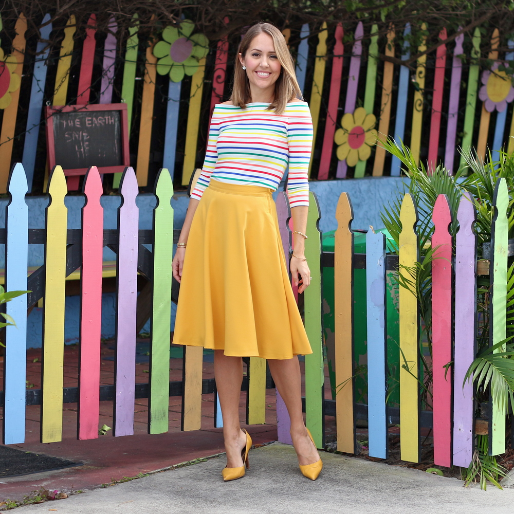 Color Me ModCloth - rainbow off shoulder and mustard skirt