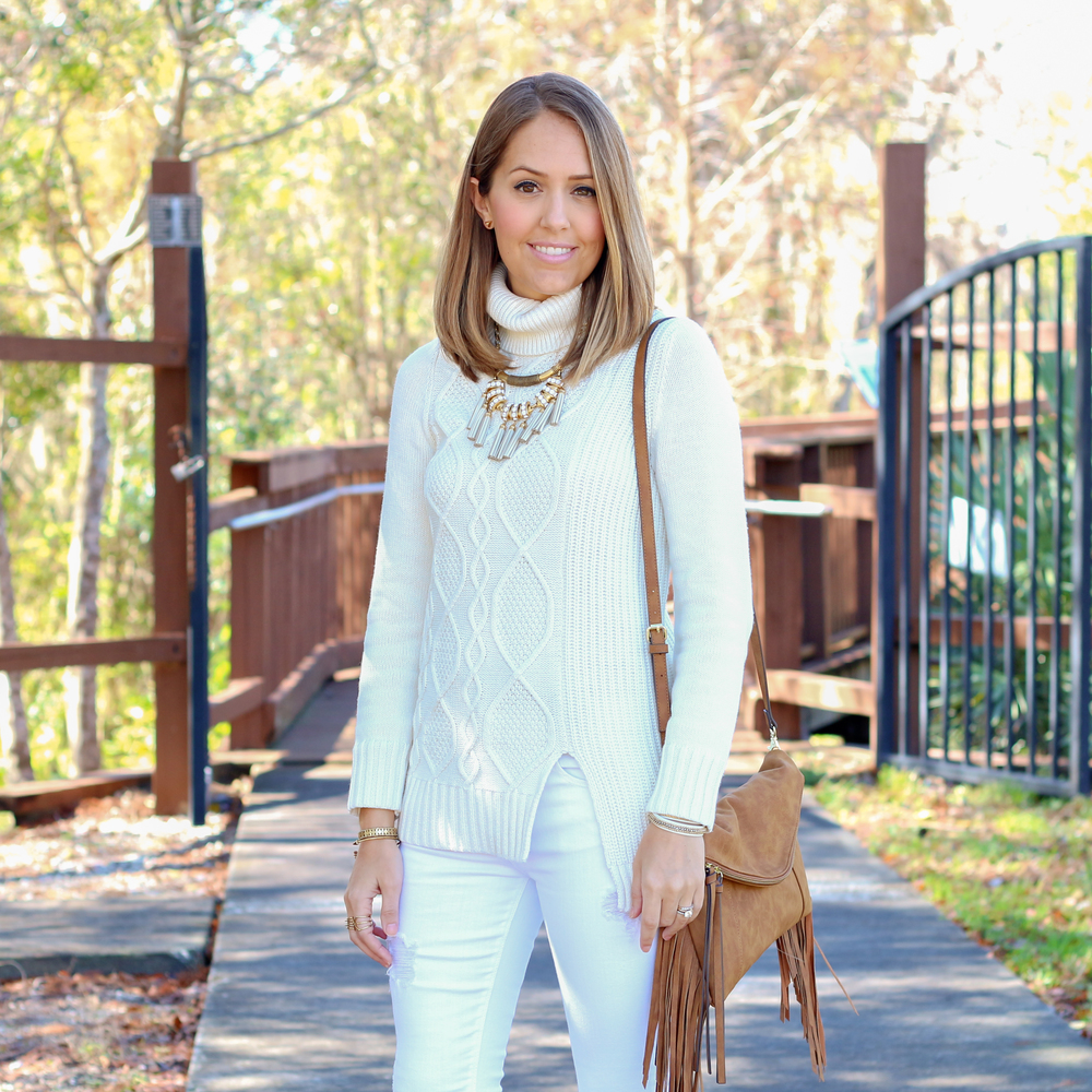 Winter white turtleneck and jeans