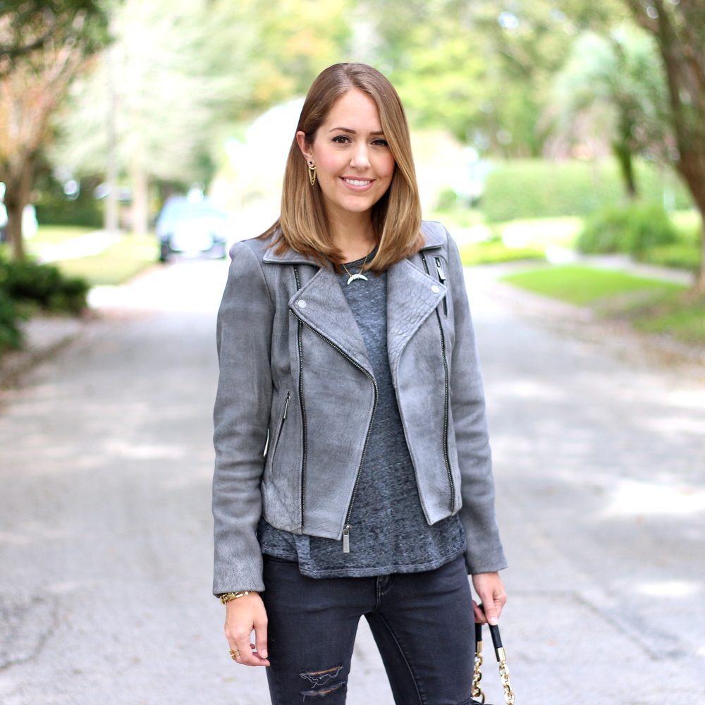 Gray leather jacket, black jeans