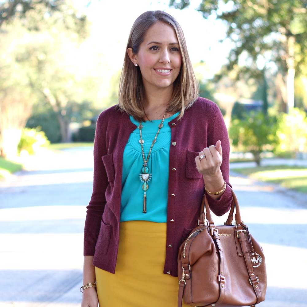 maroon cardigan, turquoise top, yellow pencil skirt