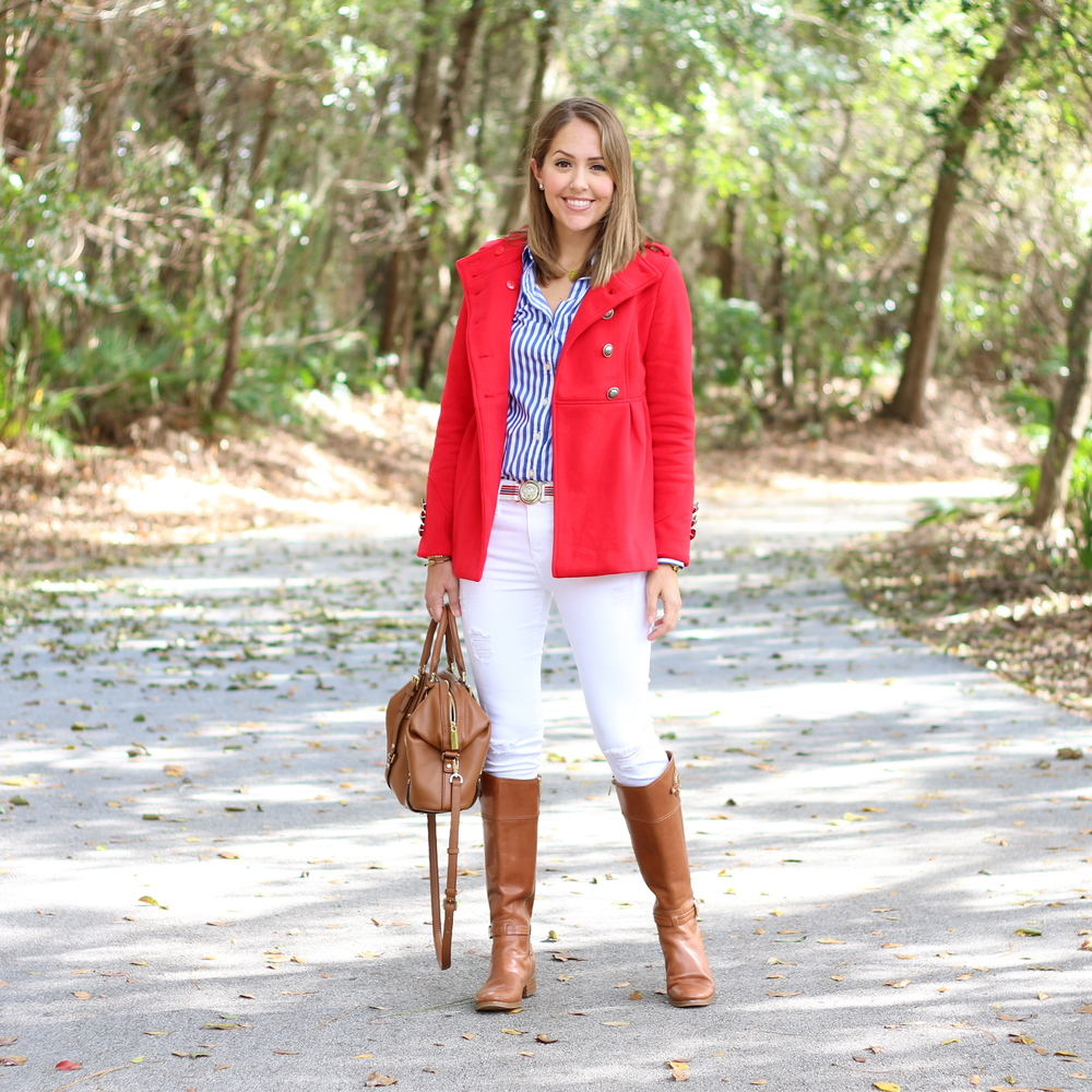 Red coat, blue striped shirt, riding boots